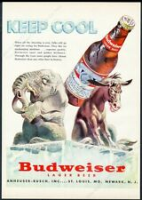 1952 republican elephant democrat donkey art Budweiser Beer vintage print ad