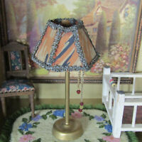 Miniature ANTIQUE DOLL LAMP SILK LAMPSHADE German Beaded 20s Dollhouse Furniture