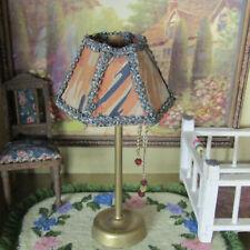Miniature ANTIQUE DOLL LAMP SILK LAMPSHADE German Beaded 20s Dollhouse Furniture