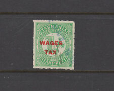 Tasmania 1935 1/-WAGES TAX Red ovpt in narrow setting -Revenue-Elsmore Cat $20+