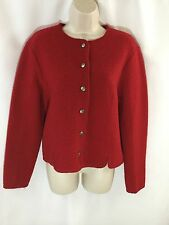 Appleseed's Ladies Sweater 100% Wool red holiday Jacket Size S small EUC