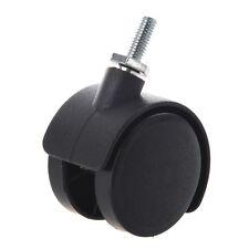 6mm Threaded Stem 40mm Dual Wheel Rotatable Caster Black LW