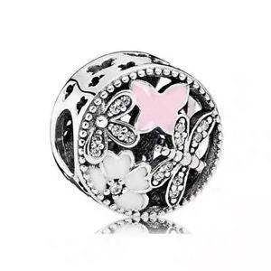 Authentic Pandora Silver Charm Bead Springtime Butterfly  791842ENMX