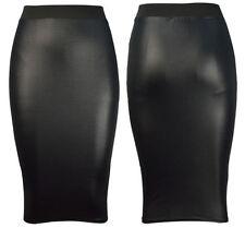NEW WOMENS BLACK PVC WET LEATHER LOOK MINI PENCIL TUBE BODYCON SKIRT SIZE 8-26