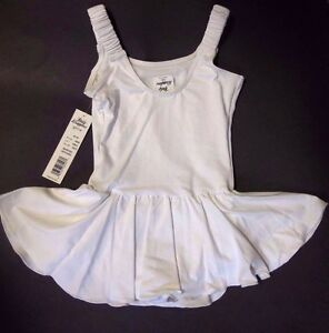 NWT Body Wrappers GIRLS BALLET DANCE DRESS Tank Leotard Skirt Attached White3005
