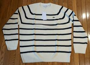 Mens Authentic Lacoste Striped Sweater White/Abysmal Blue 7 (2XL) $175