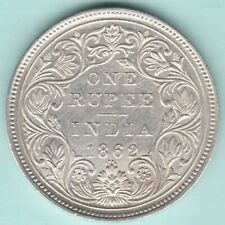 BRITISH INDIA 1862 VICTORIA QUEEN 0/4 DOT VARIETY ONE RUPEE SILVER COIN