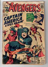 AVENGERS #4 - Grade 3.0 - Jack Kirby cover! Captain America joins the Avengers!