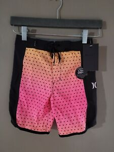 Hurley Boys Board Shorts Size 7 Hyper Pink 2-Way Stretch 882862-A96 NEW