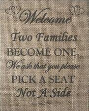 Primitive Burlap Banner Panel Appliqué Sign Wedding Welcome Pick Seat Not Side