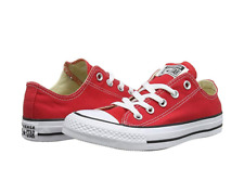 CONVERSE CHUCK TAYLOR ALL STAR CANVAS LOW TOP SNEAKERS UNISEX WHITE/BLACK/RED