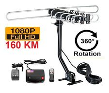 200 MILES OUTDOOR HIGH GAIN UHF VHF FREE TV ANTENNA ROTARY MOTORIZED AMPLIFIED