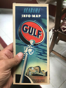 Early 1950s State of Alabama Gulf Oil Info Map