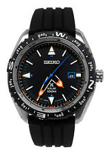 Seiko SNE423 Prospex Black Orange Blue Date Dial Silicone Rubber Band Watch New