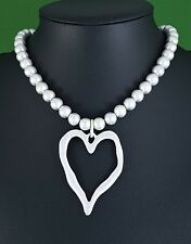 Matt Silver Beads and Large Abstract Heart Pendant Choker Necklace Gift Idea