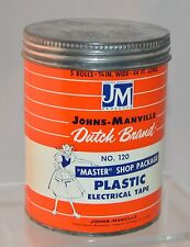 Vintage Empty Johns Manville Dutch Brand Plastic Electrical Tape Cardboard Can