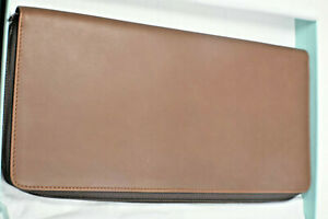 Tiffany & Co. Gorgeous Long Rich Brown Leather Thin Pochette Zip Clutch Wallet
