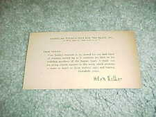 1940s Helen Keller Autographed Signed Foundation for the Blind Thank You Card
