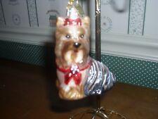 """Kurt Adler 3.5"""" -Noble Gems Blown Glass Yorkshire Terrier Ornament"""