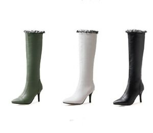 Ladies Clubwear Shoes Synthetic Leather High Heel Zip Up Knee Boots AU Size b816