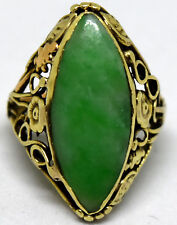 Antique Chinese 14K Solid Gold and Jade Ring Size 3.5