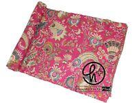 Kantha Quilt Pink Bedsheet Indian Bedcover Cotton Handmade Bedspread King Ralli