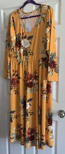 NWT Lularoe Ryane Dress - Size XL - Mustard Gold Floral Rose Print - Very HTF!!