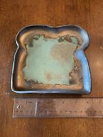 Bronze Glazed with Turquoise Ceramic Toast Dish Plate Studio Pottery Looks Metal