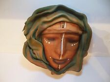 Colombia Handcrafted Sculpted Leather Woman Face Signed Art Cuero Wall Art 2003