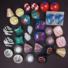 Vintage Earrings Lot 80's Pierced Ear Retro Statement 16 Plastic Hoops Colorful