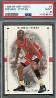 Michael Jordan Chicago Bulls 1998 SP Authentic Basketball Card #3 PSA  9 MINT