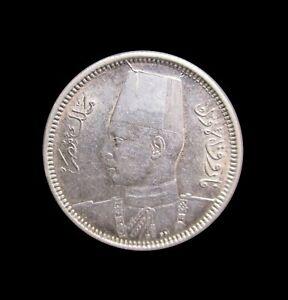 EGYPT 2 PIASTRES 1937 FAROUK SILVER KM 365 #1142#