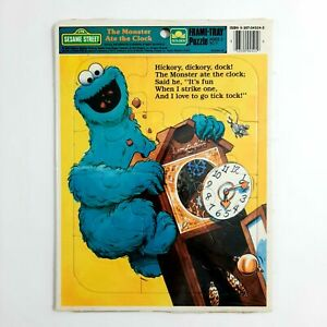 Vintage 1989 Sesame Street Cookie Monster Frame Tray Puzzle New Sealed
