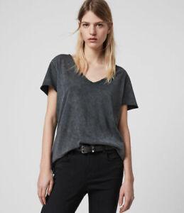 All Saints Womens Emelyn Acid Washed Black Designer Budan V-Neck T-Shirt Tee