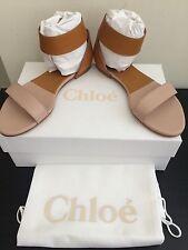 NIB $495 CHLOÉ Gala Ankle Strap Sandals Size 7 Tan/Pastel Blush