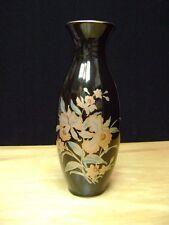 "Japanese 11"" Vase Iris Flowers & Gold Black"