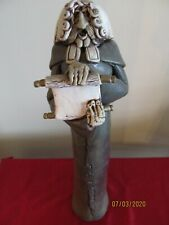 """Whimsical Handcrafted Clay Sculpture of Lawyer or Judge, 17 1/2,"""" by Bob Black"""