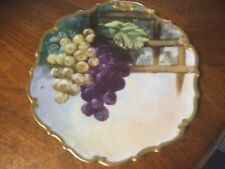Limoge,France Flambeau Torch Signed Hand Painted Charger Platter Grapes 12� Ec