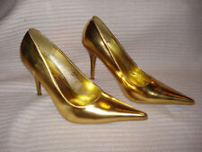 """Womens Classic 4"""" Pumps Gold High Heels Club Very Sexy Shiny Stilettoes Pointed"""
