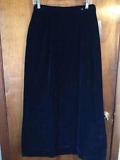 Lloyd Williams Women's Skirt Black Velvet Cotton Vintage Maxi Skirt Size 14 Nwt