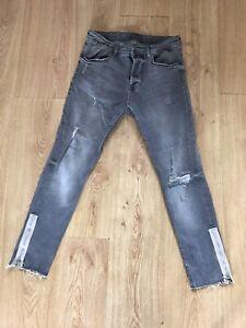 Zara Mens Jeans 30 Grey 30 X 28 Skinny Slim Zip Ankles