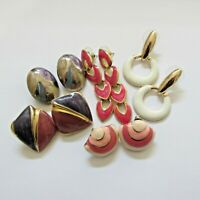 Lot of Vtg Enamel Earrings 80's Retro Pierced and Clip on 5 Pairs Mixed Styles