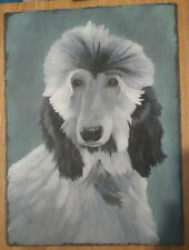 More details for blue afghan hound puppy hand painted on slate