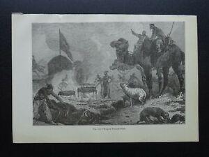 Kazakhstan KIRGHYS FUNERAL RITES Original Victorian Print by Figuier c1893
