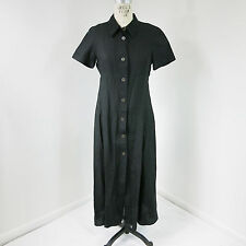 Max Mara Weekend Womens Maxi Shirt Dress Linen Black Button Up S/S Sz 8 N26