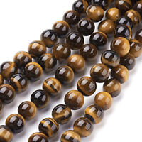 5 Strds Natural Tiger Eye Stone Beads Smooth Round Loose Gems 4mm 6mm 8mm 10mm