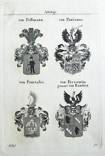 1837 4 Wappen Pollmann Pontanus Pourtales Pressentin Rautter Kupferstich Tyroff