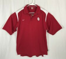 NIKE Dry Fit Oklahoma University Golf Polo Short Sleeve Shirt Mens L Sooners
