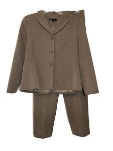 LARRY LEVINE Womens 12 Brown Suit Pants BLazer Jacket Career Business Lined