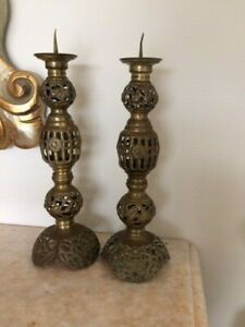 "Brass India Candle Holders Pair Filigree Vintage 10"" Two Gold Sun Leaves"